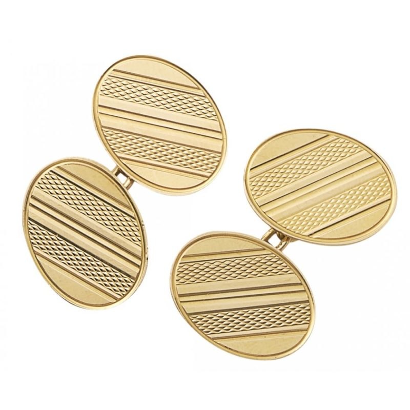 18k yellow gold engine turned ribbed cufflinks