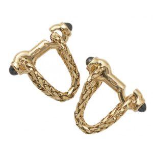 Boucheron gold sapphire woven stirrup cufflinks