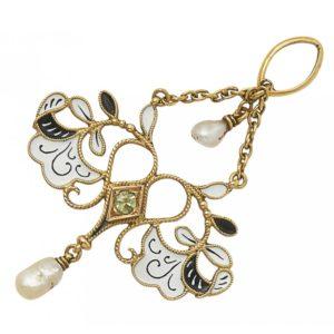 Carlo Giuliano boxed enamel pearl drop pendant