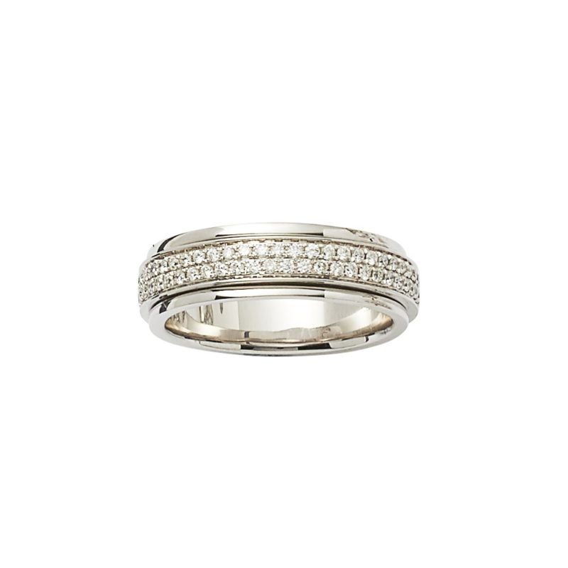 18ct pave diamond set spinner ring