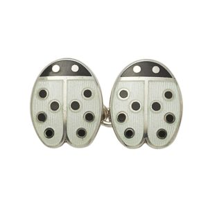 Sterling silver and enamel black dot chain link cufflinks