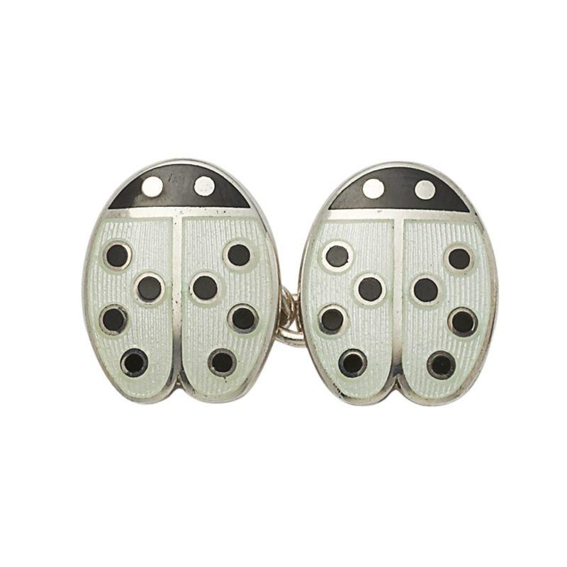 Silver and enamel black dot ladybird cufflinks