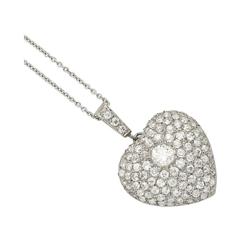 Edwardian pave set diamond heart pendant on chain