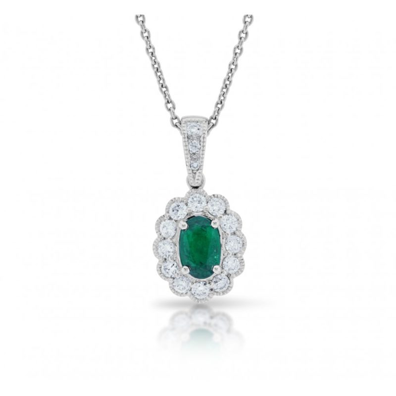 18ct gold oval emerald diamond cluster pendant