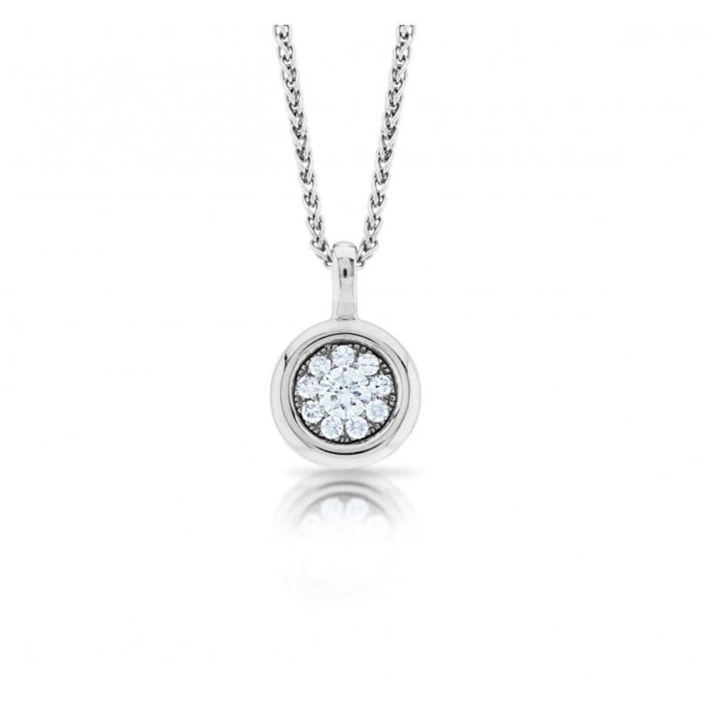 A pave set brilliant cut diamond pendant set in 18ct white gold
