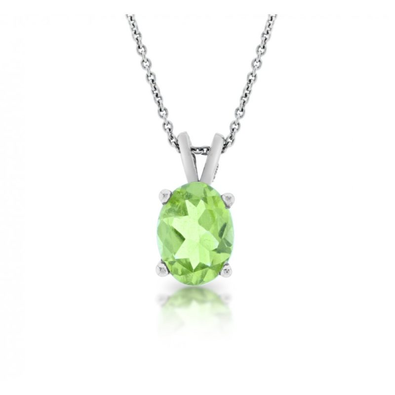 18ct white gold oval cut peridot pendant