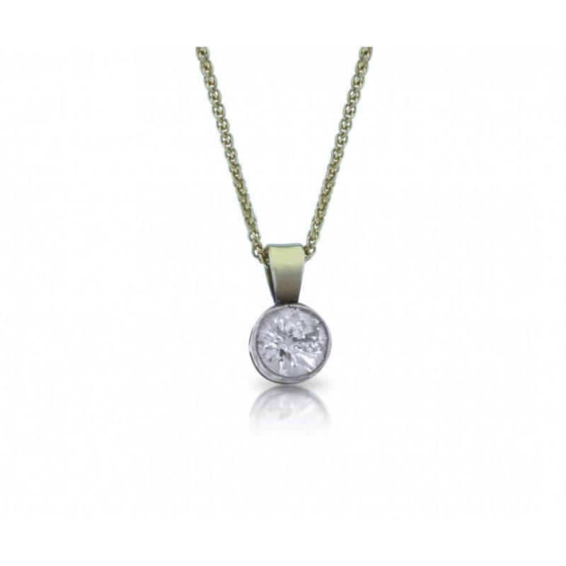 Old European Single Stone Diamond Pendant