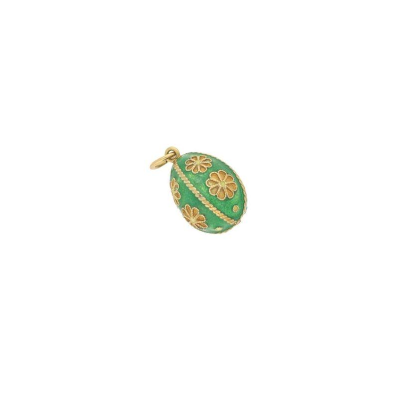 Victorian Russian enamel green egg pendant