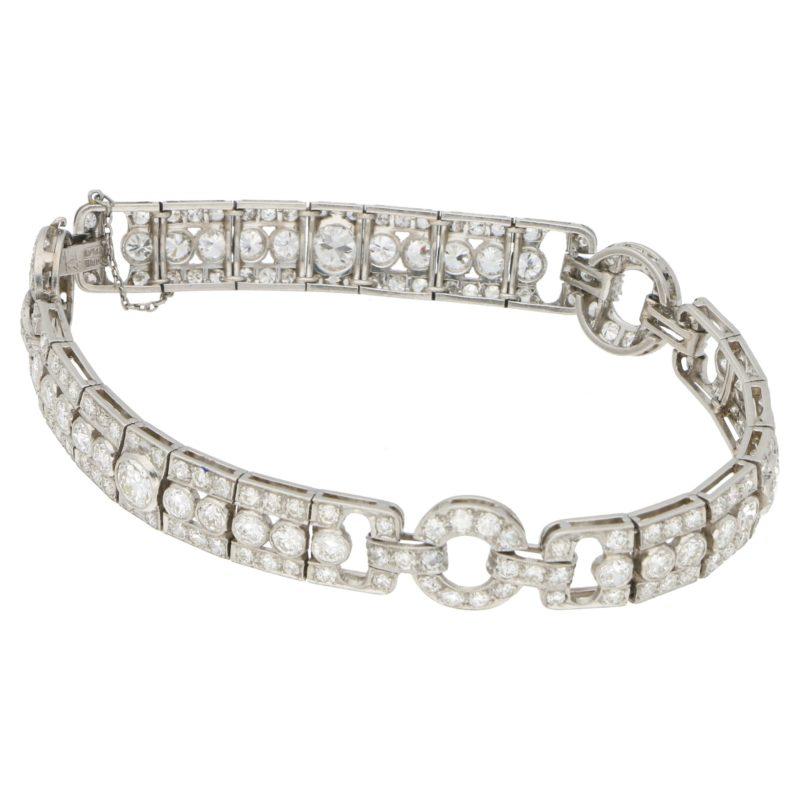 Art Deco diamond open work bracelet, circa 1925
