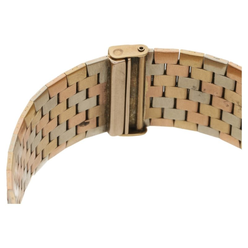 Bueche Girod 9ct multi-coloured gold brickwork bracelet watch