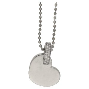 18k white gold diamond Wempe heart pendant