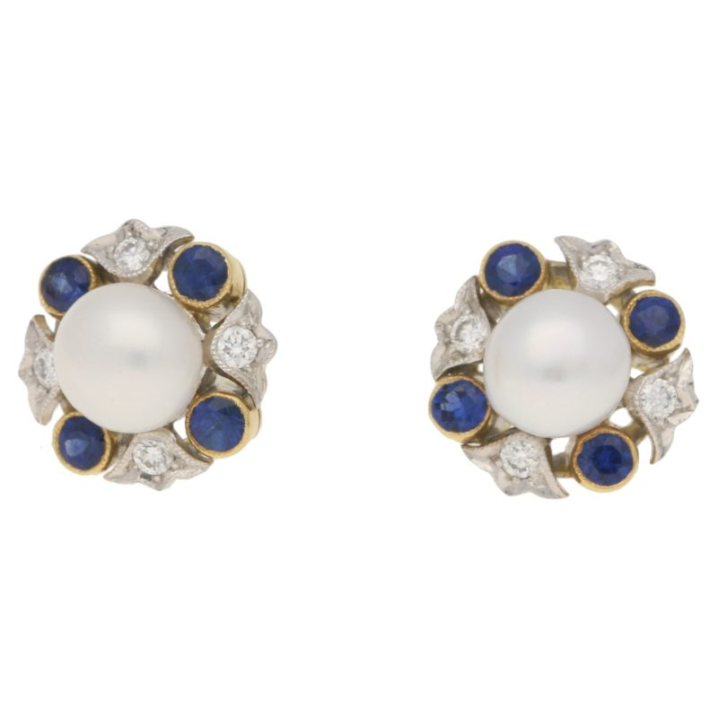 18ct gold pearl, sapphire and diamond cluster earrings