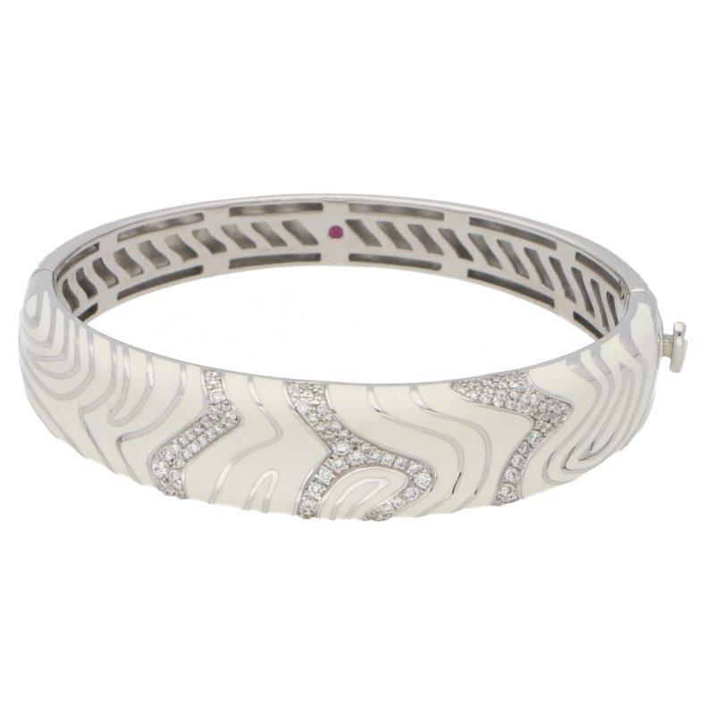 Roberto Coin white enamel diamond hinged bangle