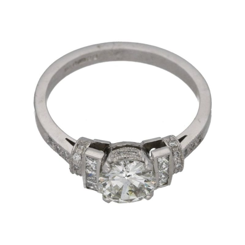 Art Deco style diamond engagement ring in platinum
