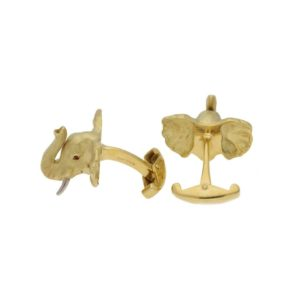 18k yellow gold elephant cufflinks