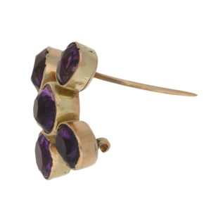 Antique amethyst cross brooch in yellow gold
