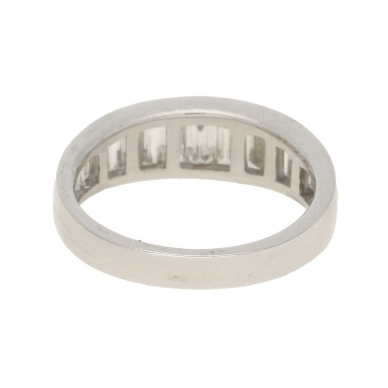 Graduated baguette-cut diamond half-eternity ring in white gold