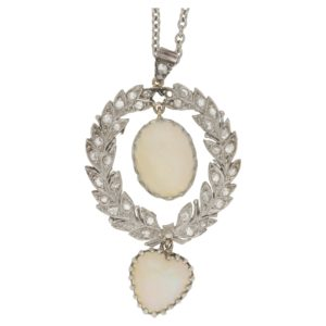 Belle Epoque opal and diamond wreath pendant in platinum/gold