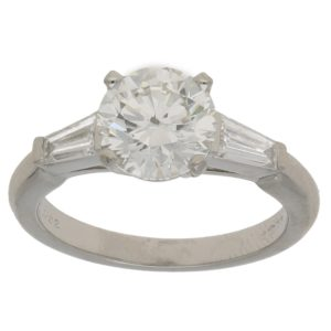 Asprey Diamond Solitaire Engagement Ring Platinum