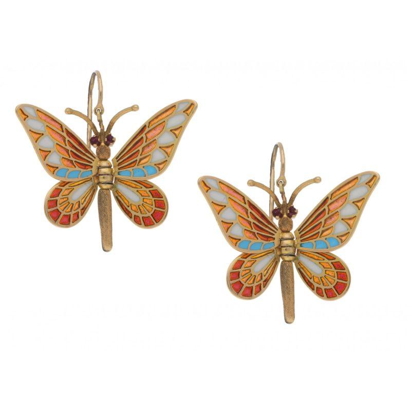 Butterfly Enamel Drop Earrings in Yellow Gold