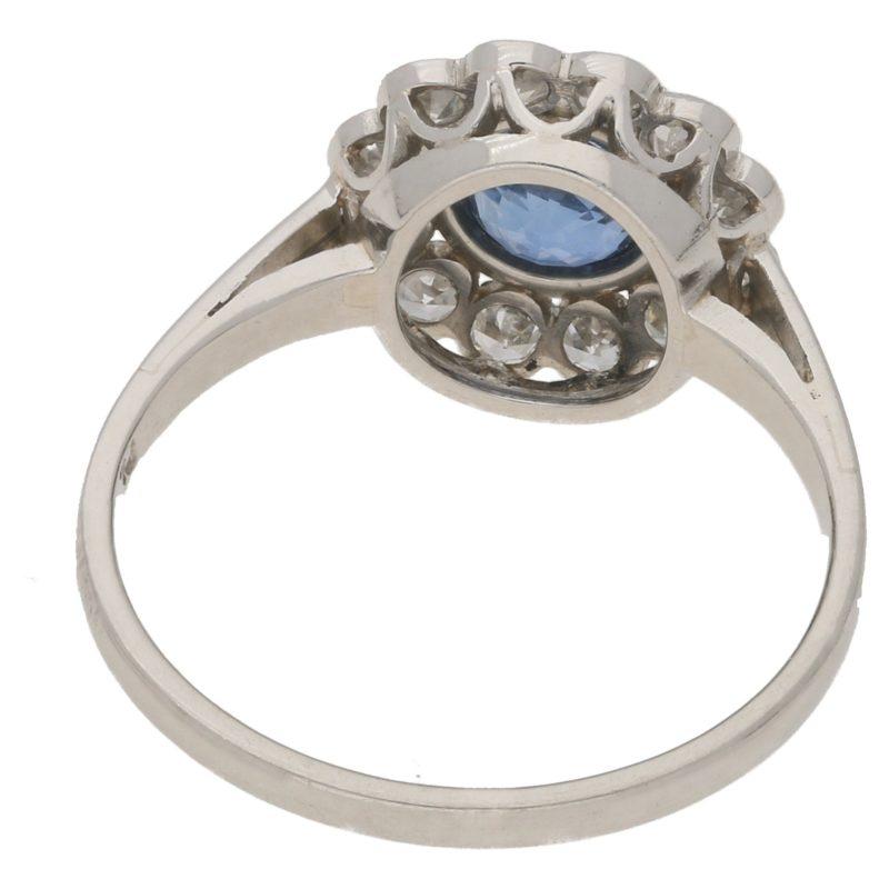 Art Deco sapphire and diamond coronet cluster ring in platinum