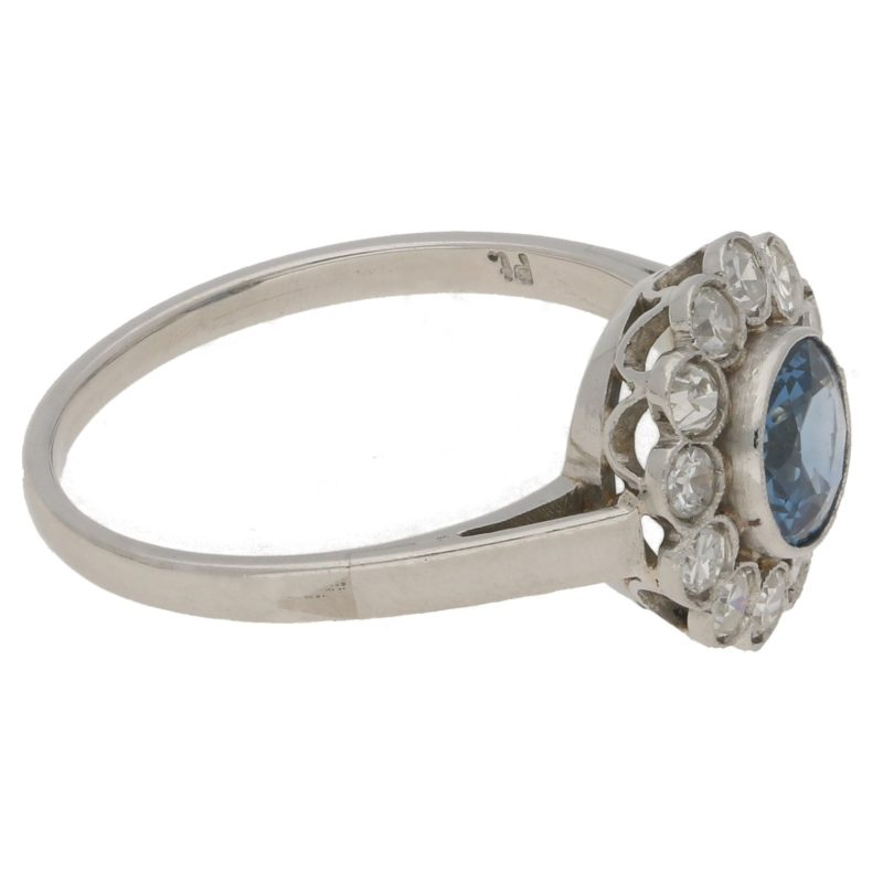 Art Deco sapphire and diamond coronet cluster ring in platinum