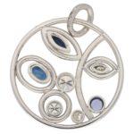 Modern Sapphire and Diamond Circular Foliate Pendant White Gold