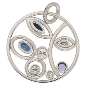 Modern Sapphire and Diamond Circular Foliate Pendant White Gold