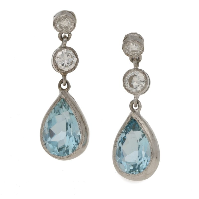 Aquamarine and Diamond Drop Earrings in White Gold