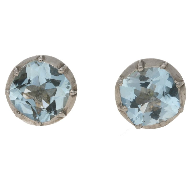 Aquamarine Stud Earrings in Silver-on-Gold