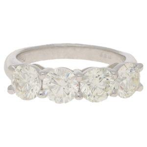 Four-stone diamond ring in white gold