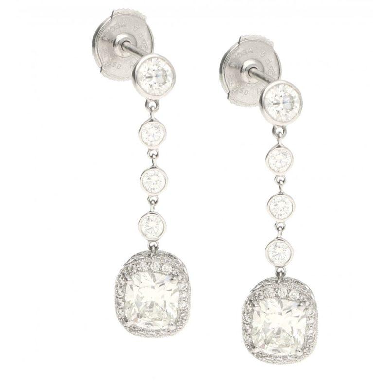 Old cushion-cut diamond drop earrings in platinum