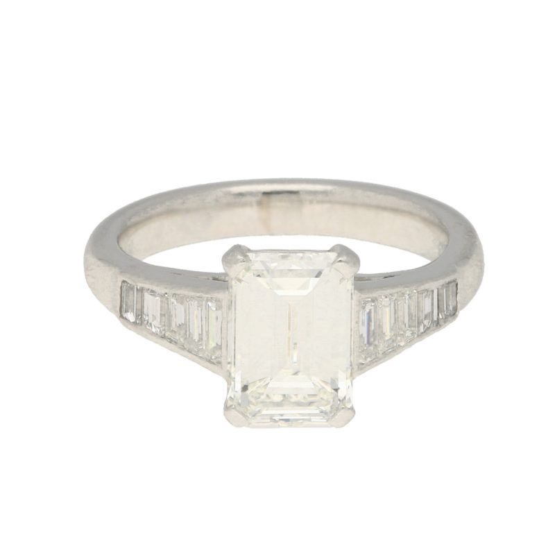 Emerald-Cut Diamond Ring with Baguette-Cut Shoulders White Gold