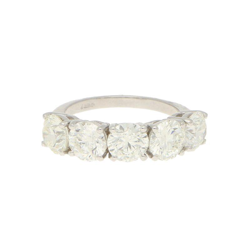 5.05ct Five-Stone Diamond Ring in Platinum