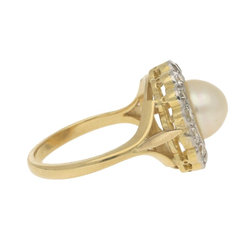 Pearl and Diamond Coronet Cluster Ring Yellow White Gold, c.2005