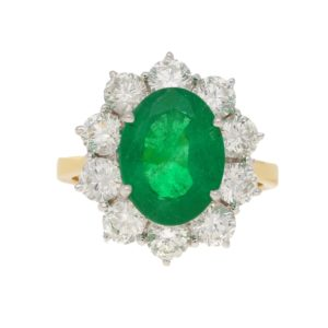18ct Gold Emerald Diamond Cluster Ring