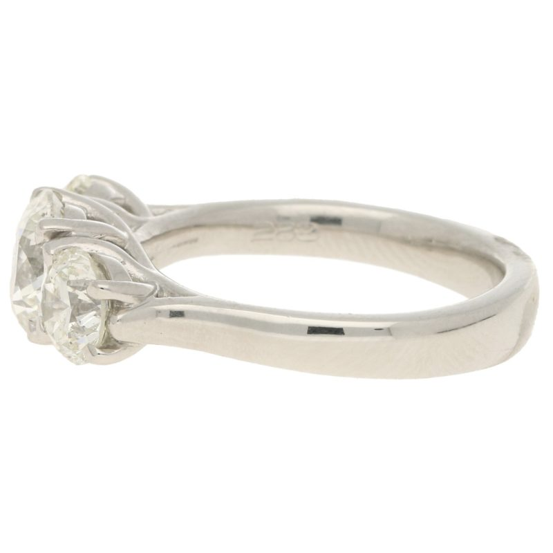2.55ct Three-Stone Graduating Diamond Ring in Platinum