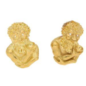 Bacchus Diamond Cufflinks in Yellow Gold, circa 1970