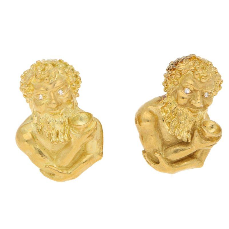 Bacchus Diamond Cufflinks in Yellow Gold