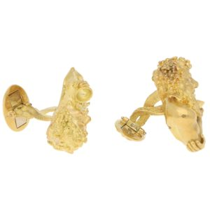 Bacchus Diamond Cufflinks in Yellow Gold, circa 1970