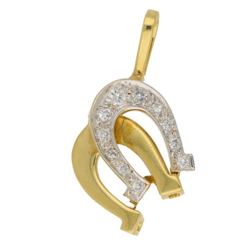 Vintage Diamond Double Horseshoe Pendant Yellow and White Gold