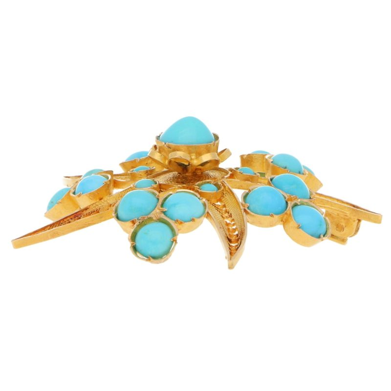 Turquoise Starfish Brooch in Yellow Gold