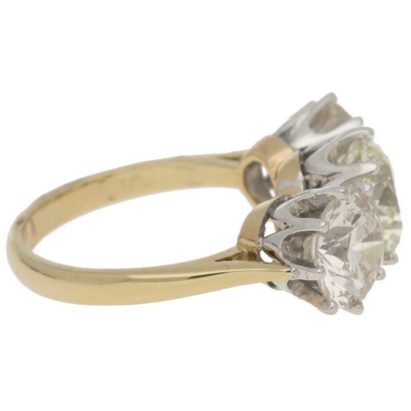 7.81ct Three-Stone Diamond Ring in Yellow and White Gold c.1996