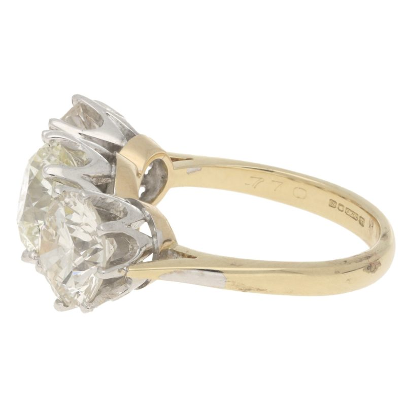 5.80ct Two-Stone Diamond Toi-Et-Moi Crossover Ring Mixed Gold
