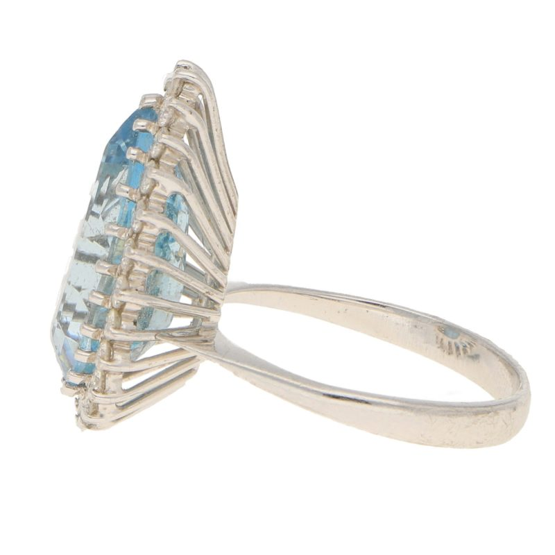 Aquamarine and Diamond Cluster Cocktail Ring in White Gold