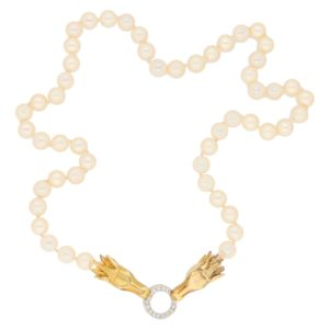 Akoya Pearl and Diamond Necklace Horse Head Clasp Yellow Gold