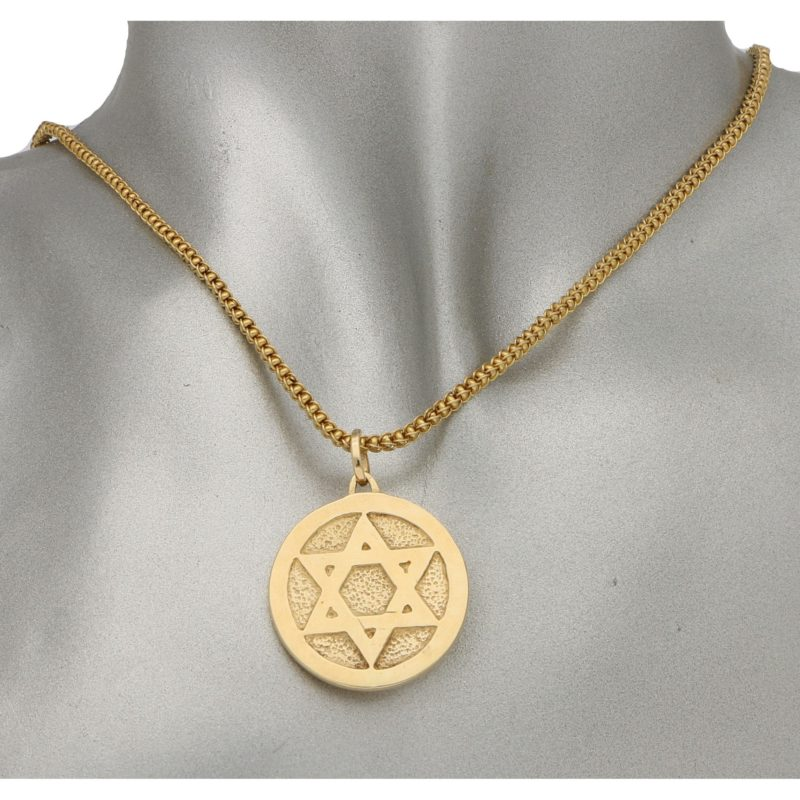 Saint Estephe and Star-Of-David Medallion Pendant in Yellow Gold