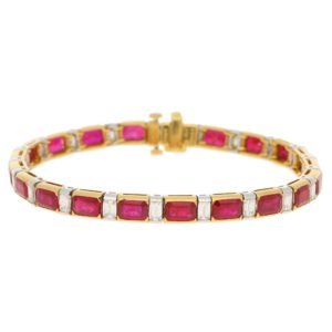 Ruby and Diamond Line Bracelet in Yellow Gold and Platinum