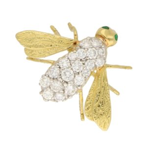 Vintage Diamond and Emerald Fly Brooch in Yellow and White Gold