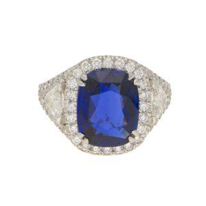 Asprey 5.54ct Natural Royal Blue Sapphire Diamond Ring Platinum